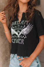 Dream Chaser Ribbed Crop Graphic Tee- Black