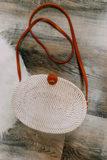 White Oval Bali Bag - Black and White Inside