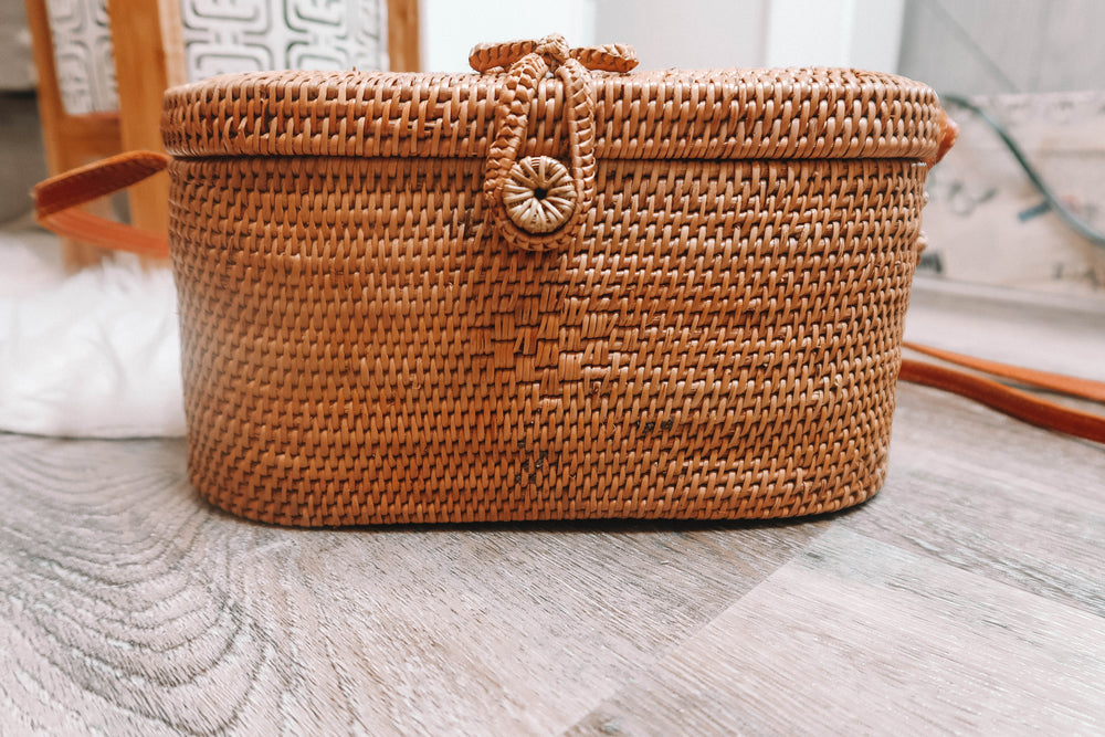 Brown Bali Bag - Pink Inside
