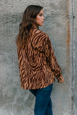 ZEBRA PRINT CORDUROY BUTTON DOWN SHIRT JACKET