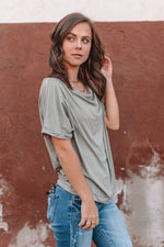 Like A Lady Scalloped Top - Olive