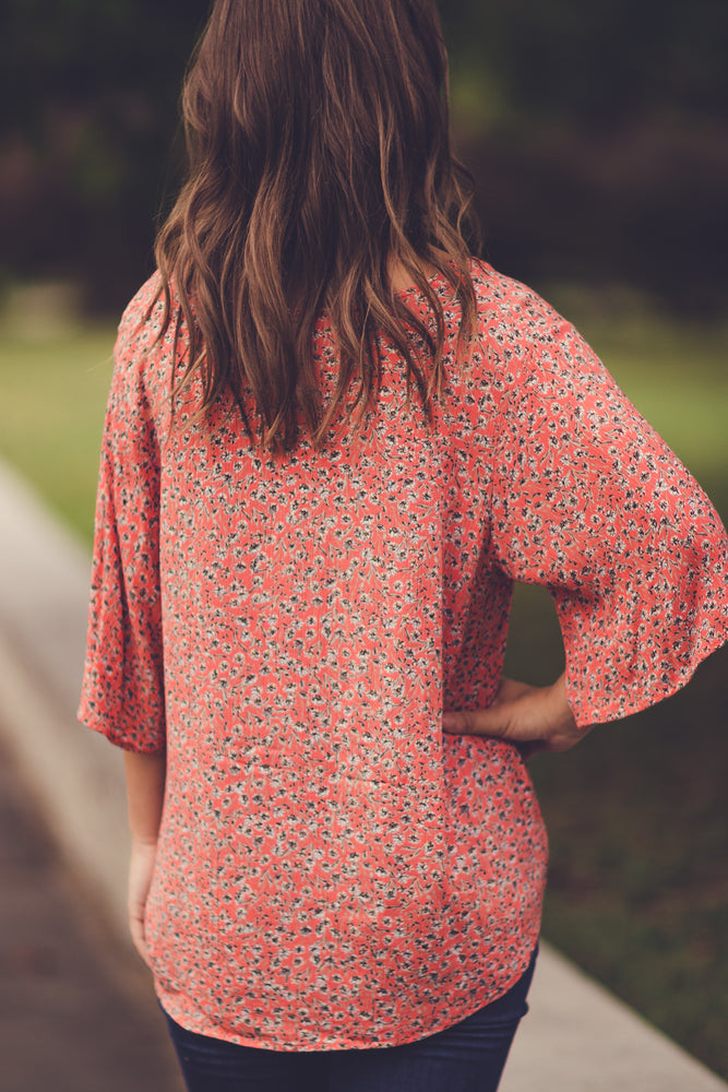 Its Your Way Floral Blouse -Coral