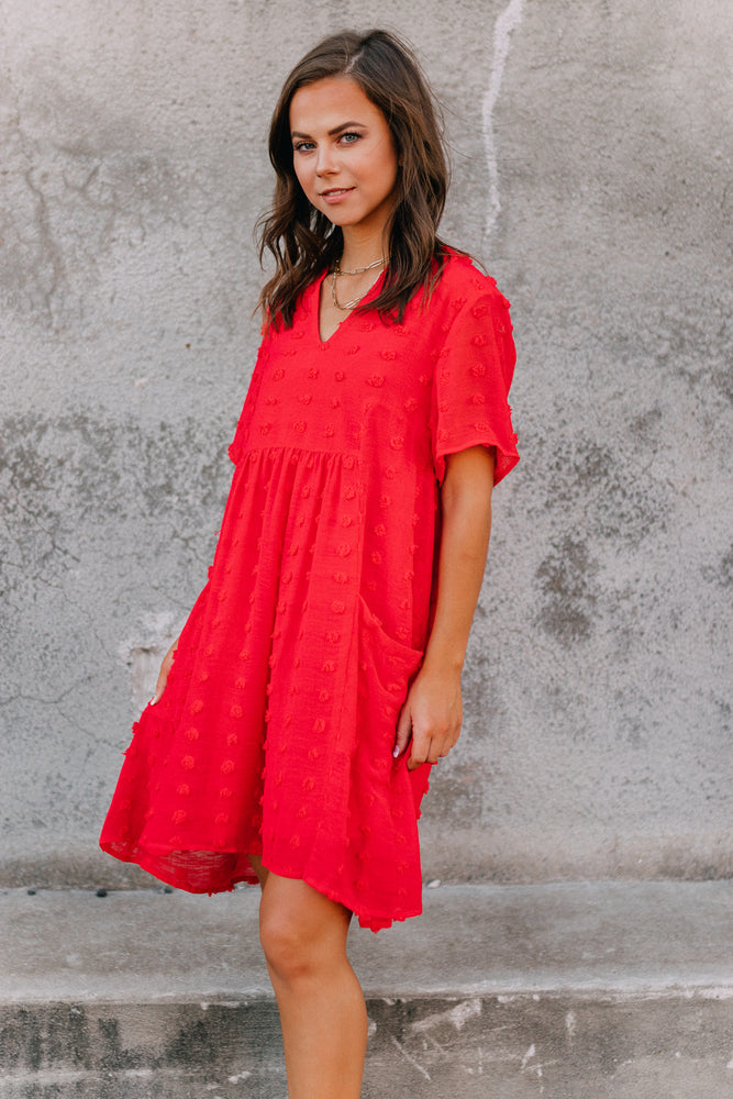 Give Me Life Babydoll Dress - Red