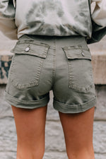 Skylar Denim Shorts- Olive