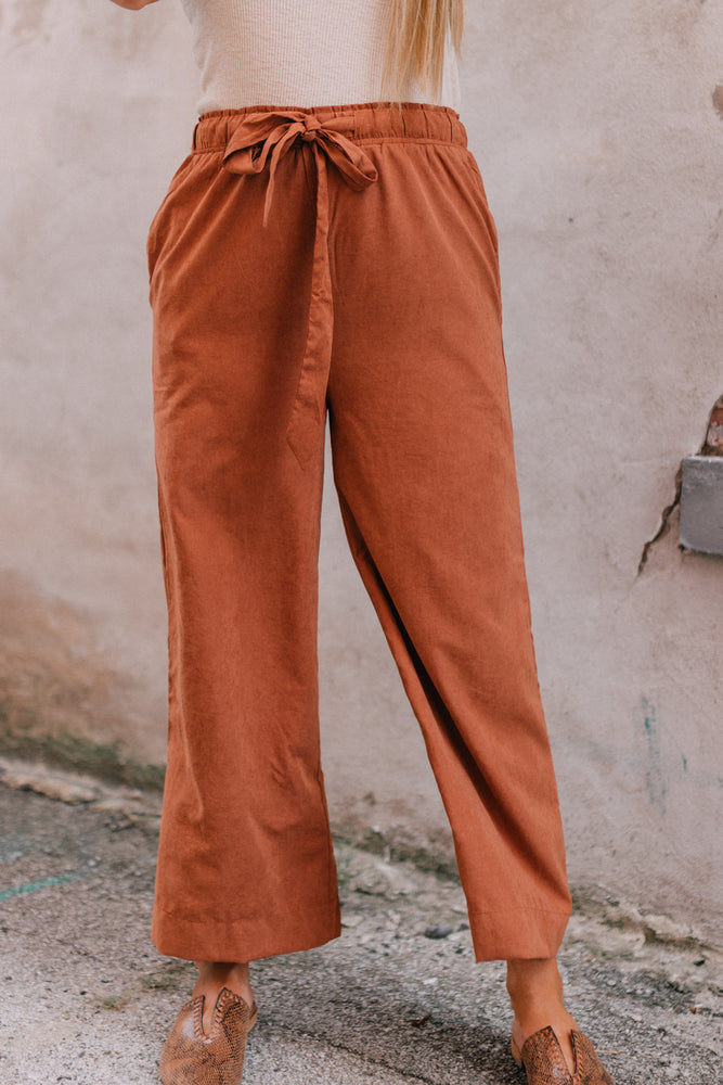 Here We Go Wide Leg Crop Pant - Butter Scotch
