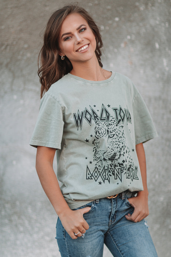 World Tour Graphic Tee - Olive