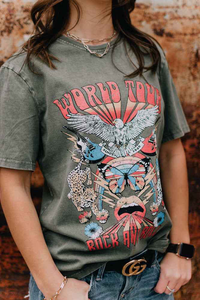 World Tour Rock and Roll Graphic Tee - Green