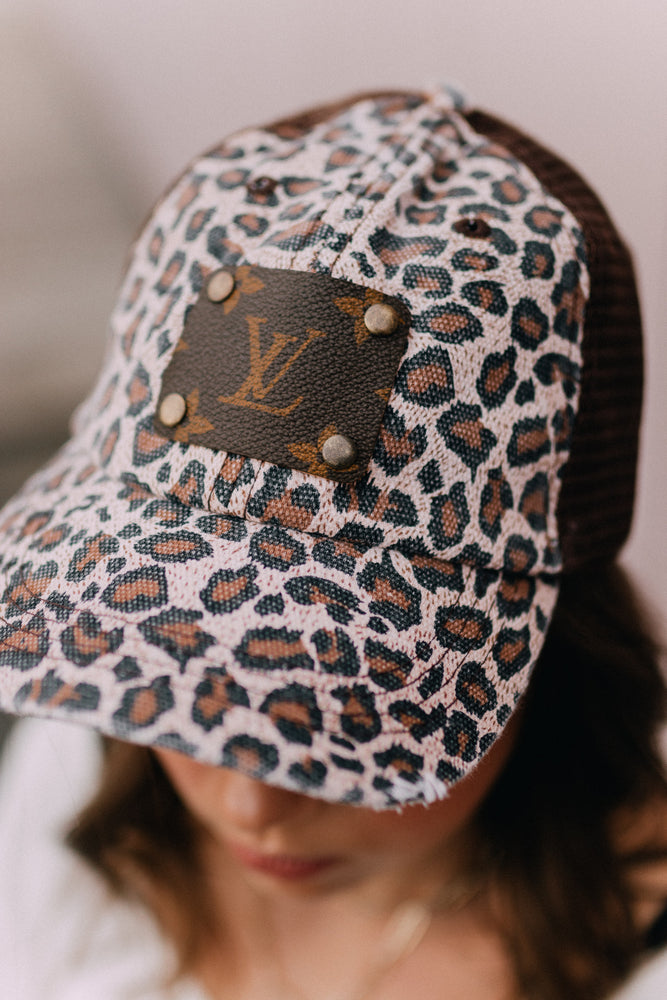 Upcycled Luxury Hat - Leopard
