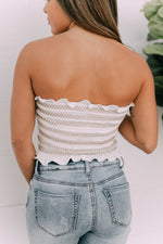 STRIPED SMOCKED BANDEAU TOP