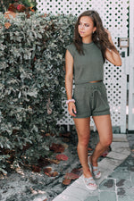 On The Edge Two Piece Set -Olive