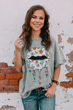 Floral Lips Graphic Tee