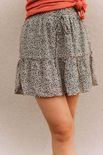 POLKA DOT TIERED FLARE MINI SKIRT