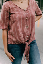 MOLLIE TIE TOP - BURGUNDY