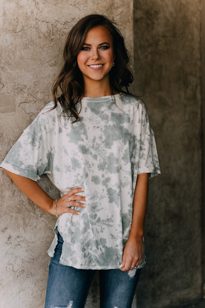 Go To Tie Dye Tee- Faded Sage