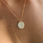 "Katie Waltman: 18"" Gold-filled Chain With Gold Plate Foil Hammered Disc"