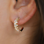 Katie Waltman: BAGUETTE CUT CUBIC ZIRCONIA HOOP STUD EARRINGS