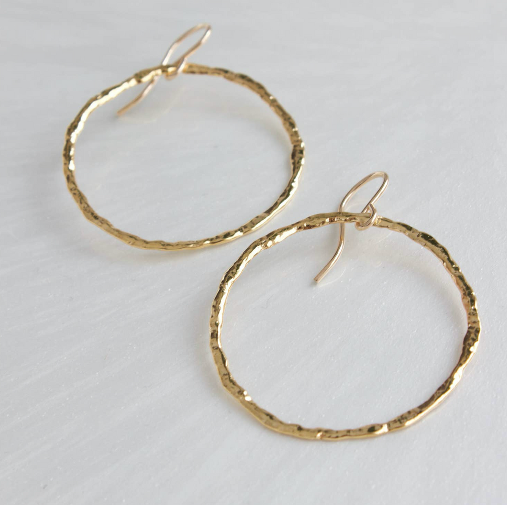 Katie Waltman: ORGANIC HAMMERED HOOP EARRINGS