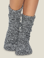 Barefoot Dreams: Cozychic heathered socks- black / white