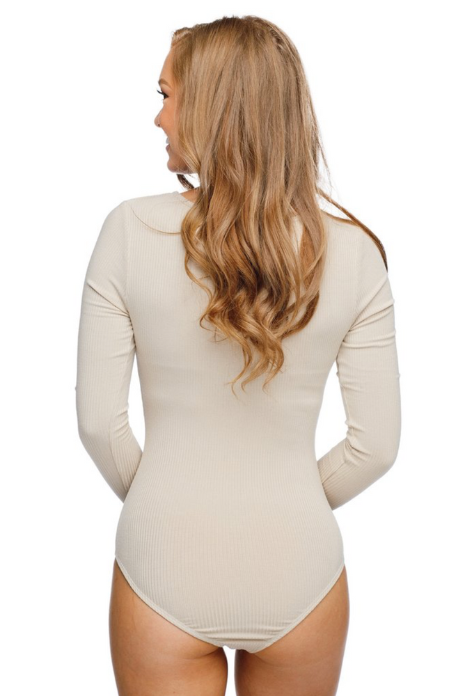 PATTI V-NECK LONG SLEEVED BODYSUIT - TAUPE