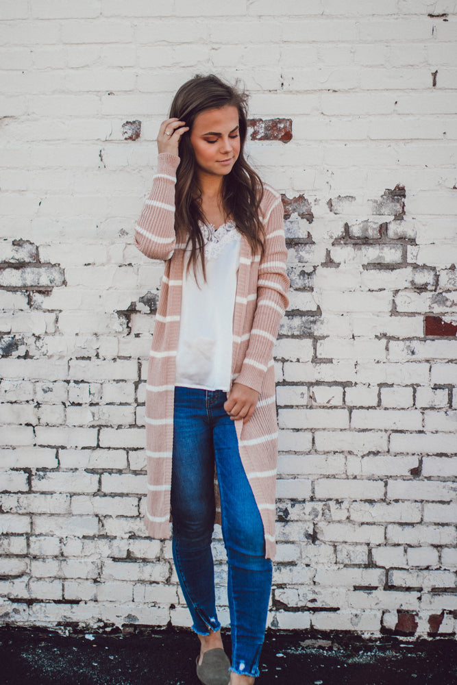 IN THE MOMENT STRIPE CARDIGAN - MAUVE