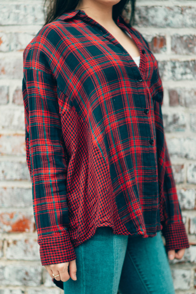LONG LOST LOVERS FLANNEL - RED/NAVY