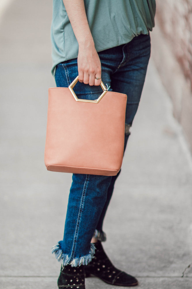 Blush Hexagon Handle Bag