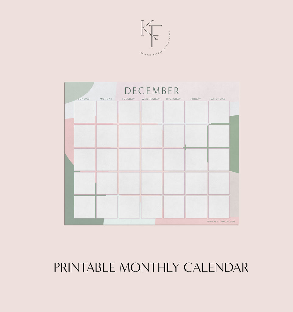 Printable Monthly Calendar - December