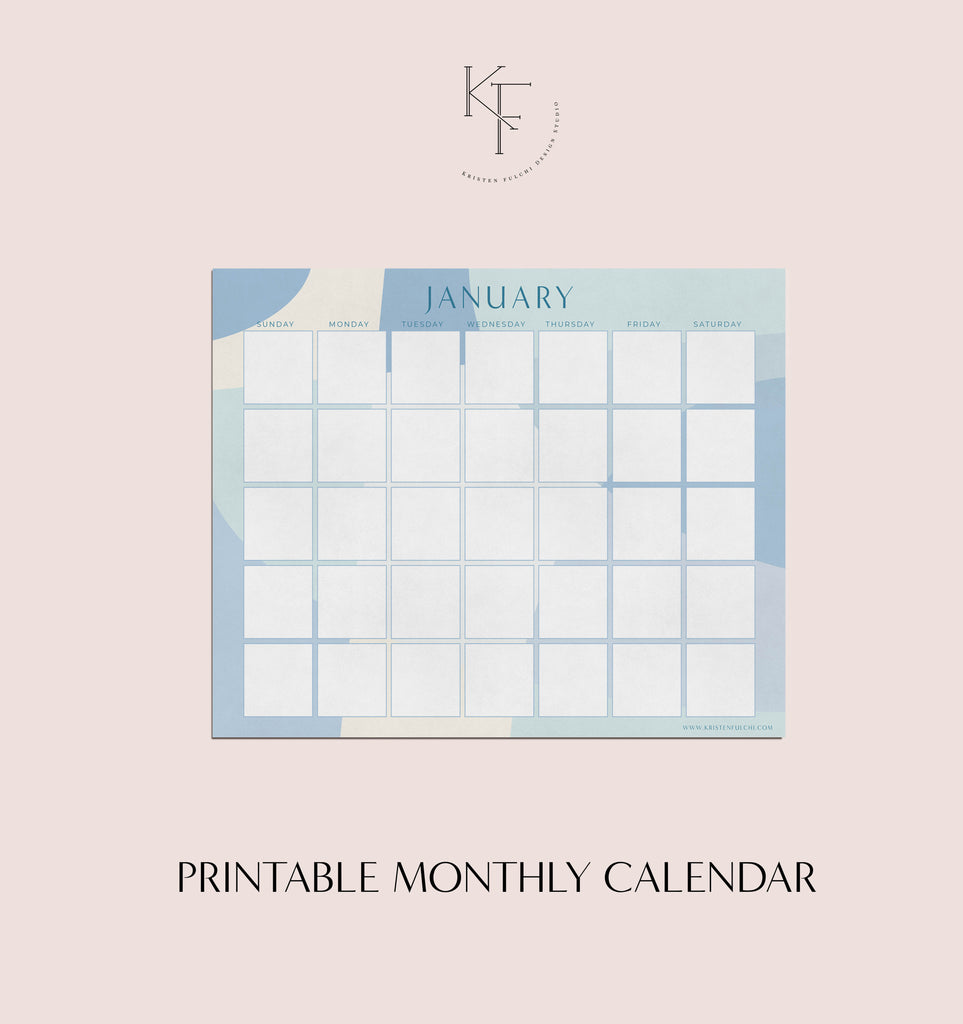 Printable Monthly Calendar - January