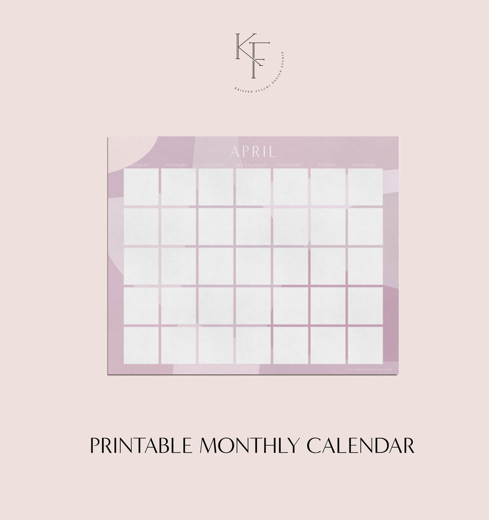 Printable Monthly Calendar - April