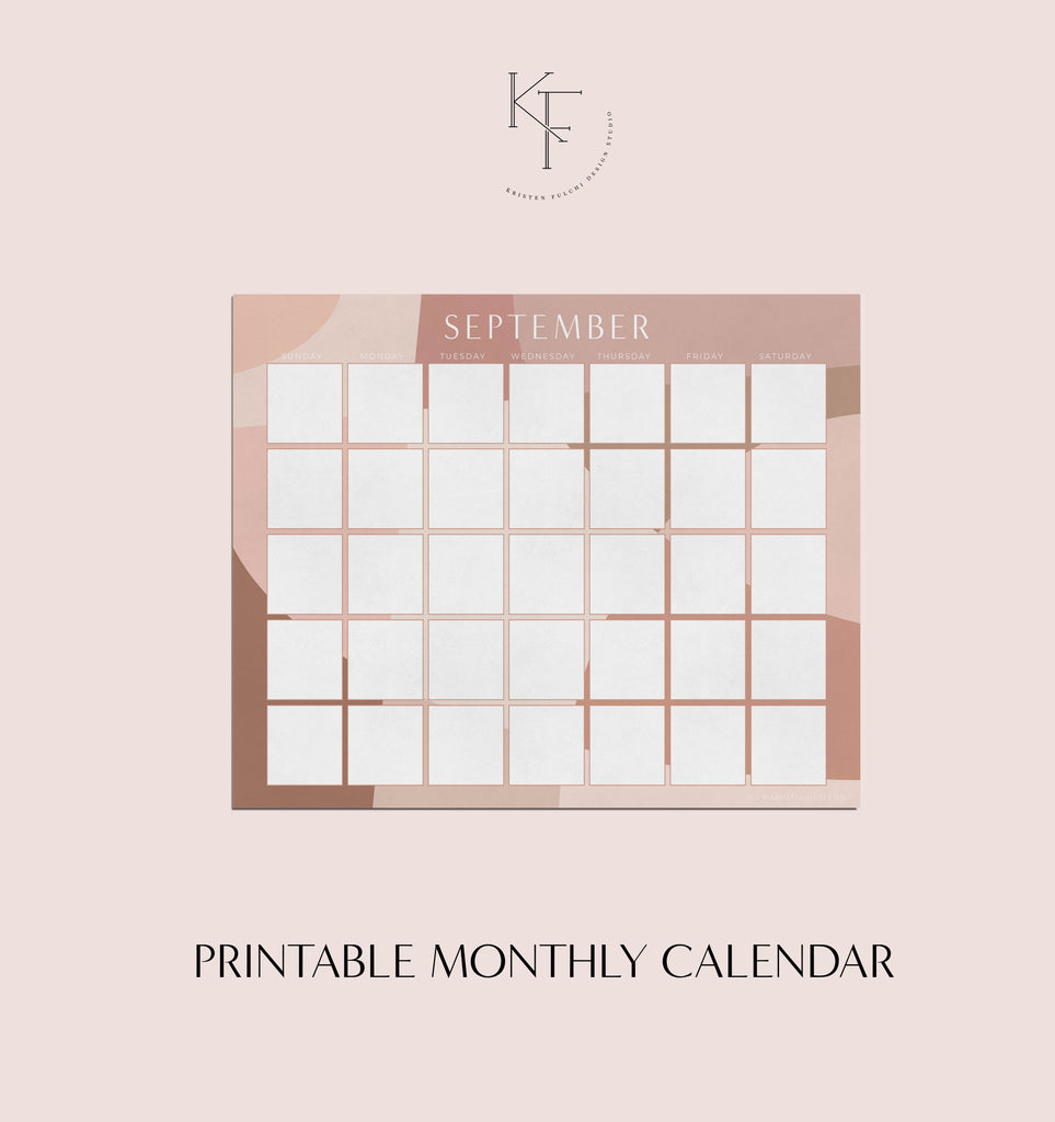 Printable Monthly Calendar - September