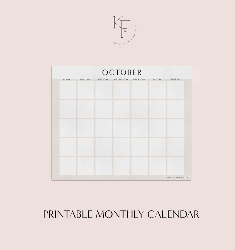 Printable Monthly Calendar - October