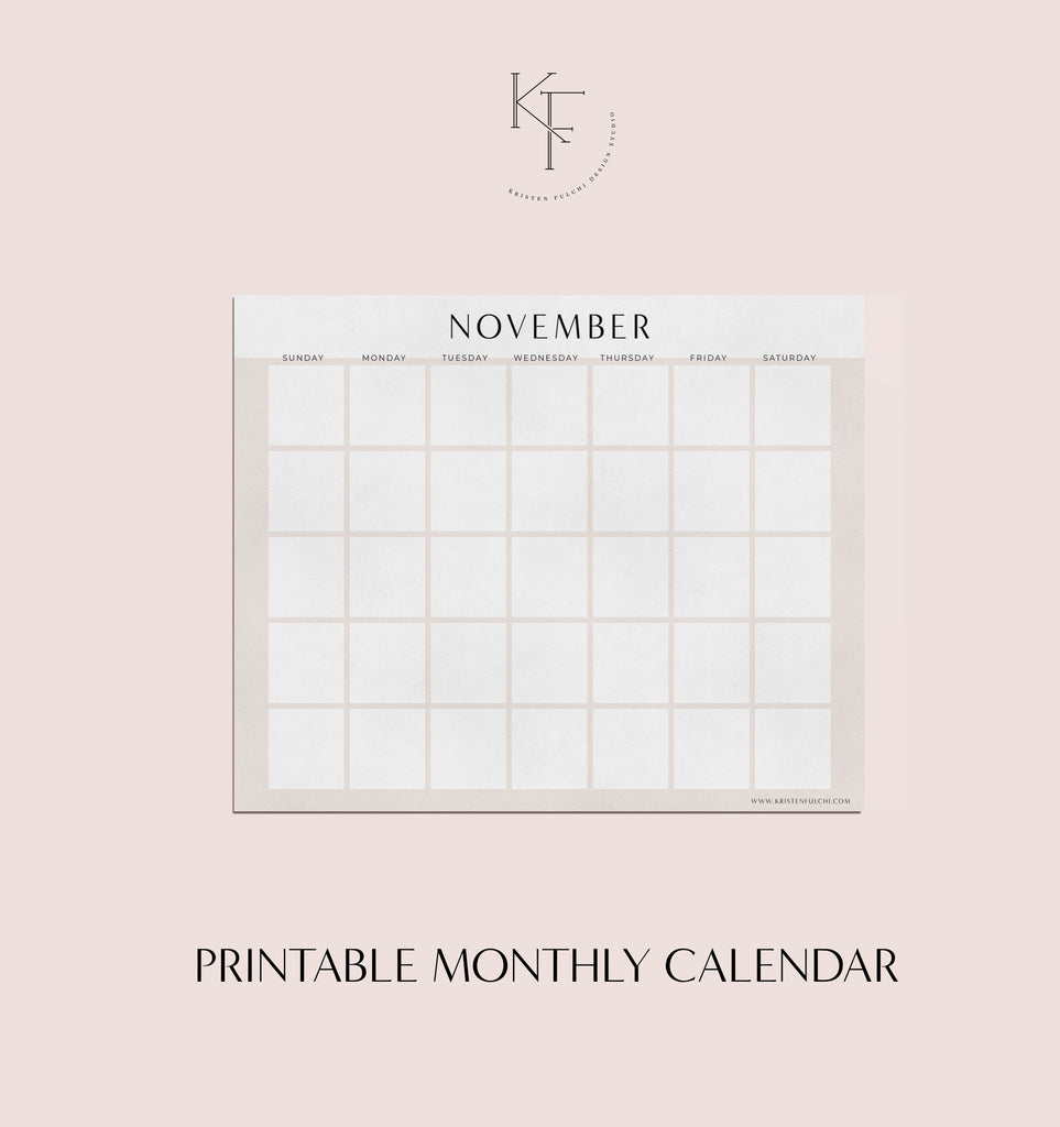 Printable Monthly Calendar - November