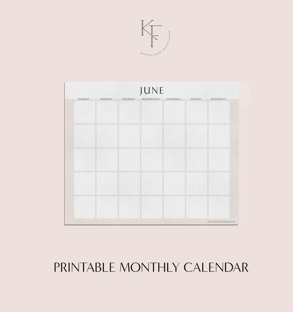 Printable Monthly Calendar - June