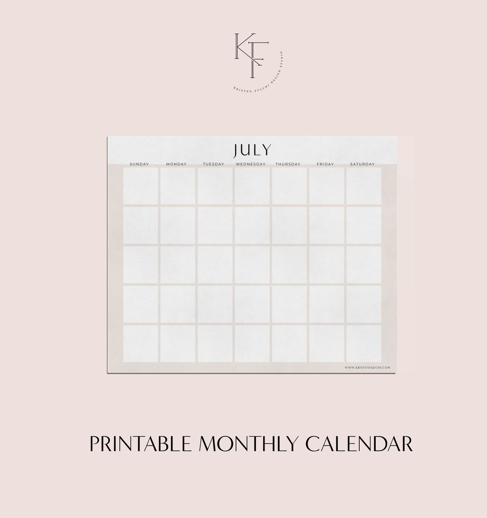 Printable Monthly Calendar - July