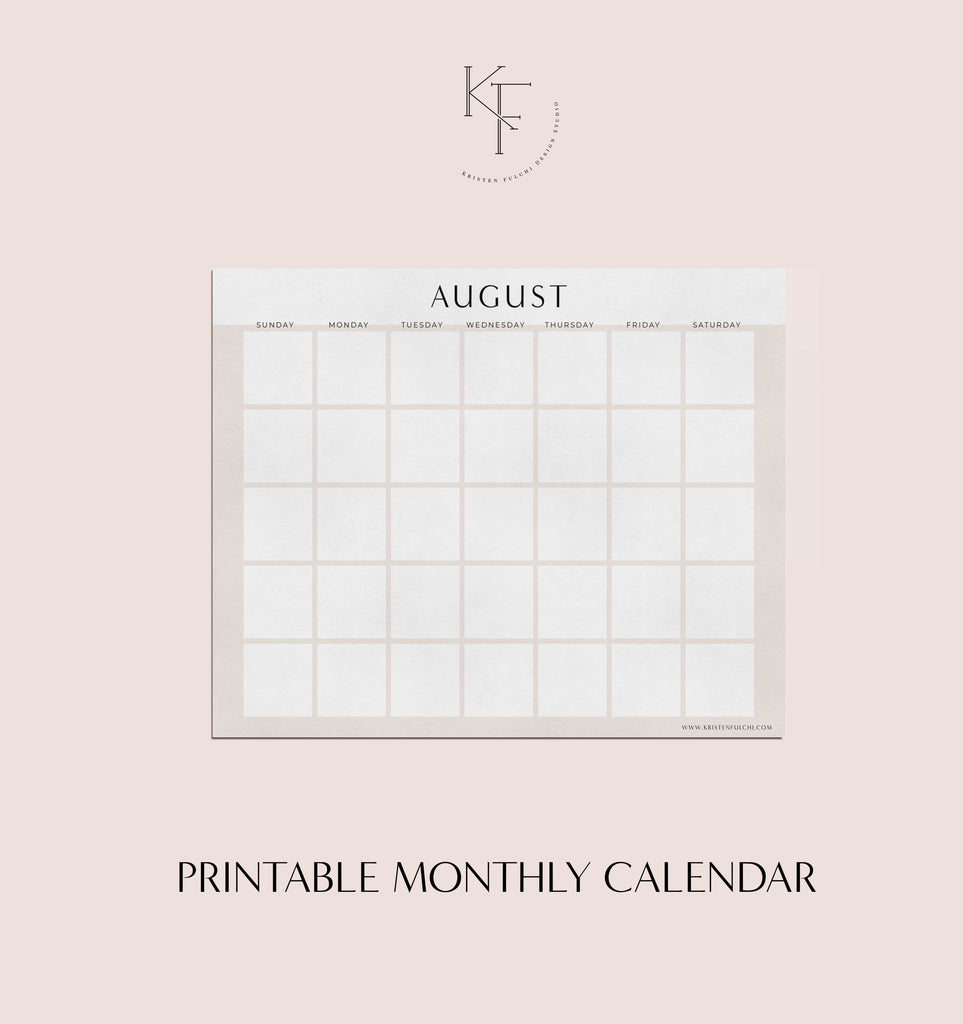 Printable Monthly Calendar - August