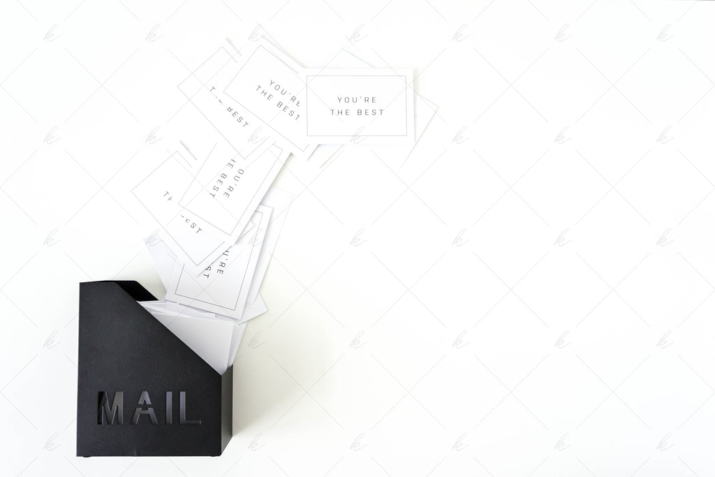 White and black office desk stock photo for creatives