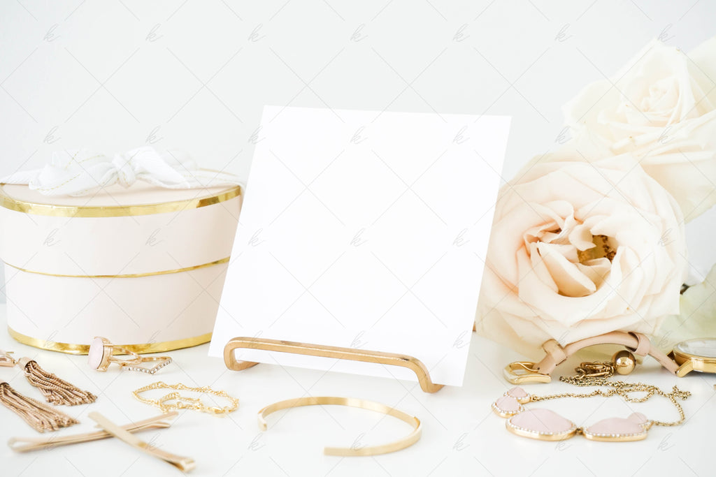 White and blush office stock photo for creatives