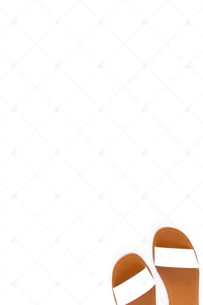white and neutral sandals summer stock photo