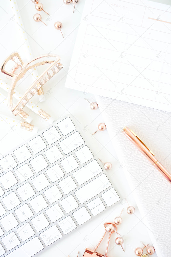 White and copper office stock photo for creatives