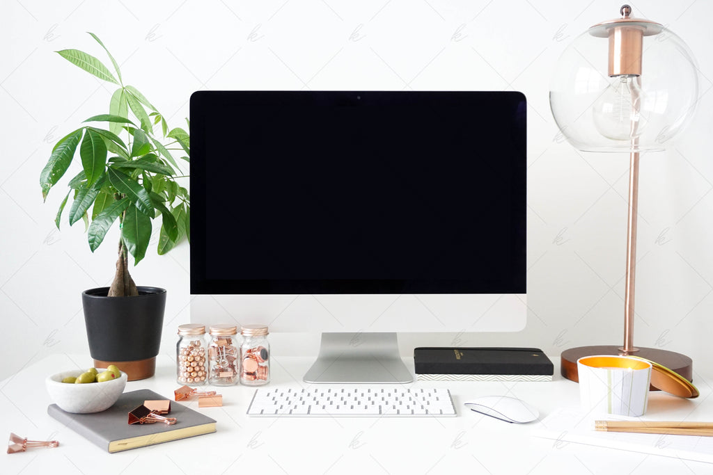 White and green office desk stock photo for creatives