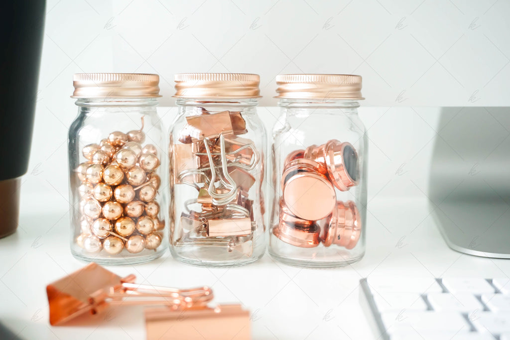 White and copper office desk stock photo for creatives