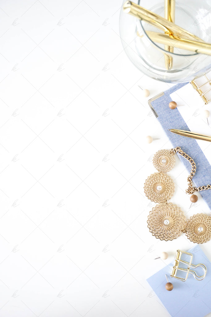 White and light blue office desk stock photo for creatives