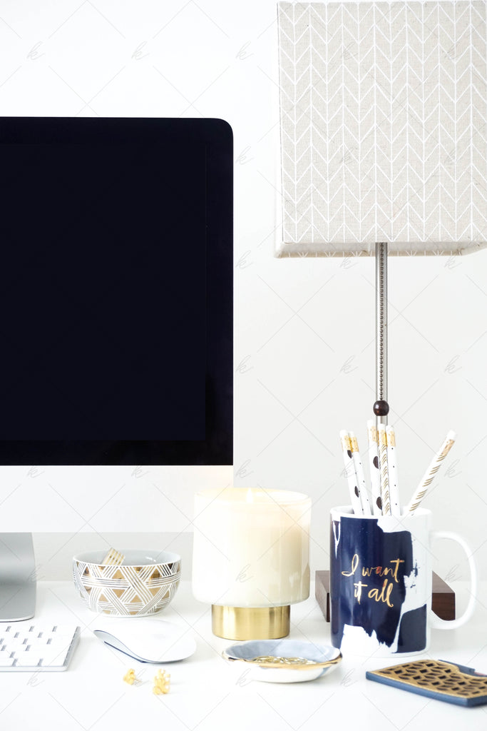 White and navy office desk stock photo for creatives
