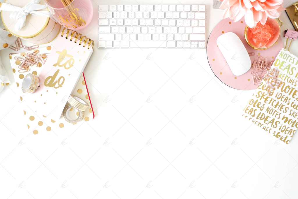 White and pink office desk stock photo for creatives