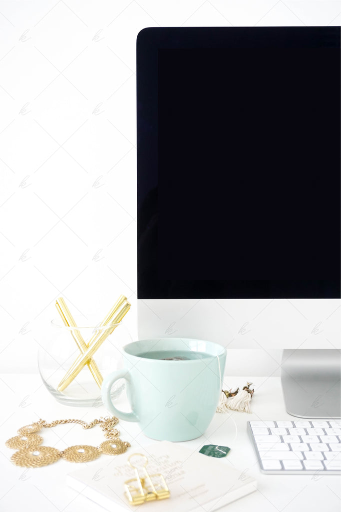 White and teal office stock photo for creatives