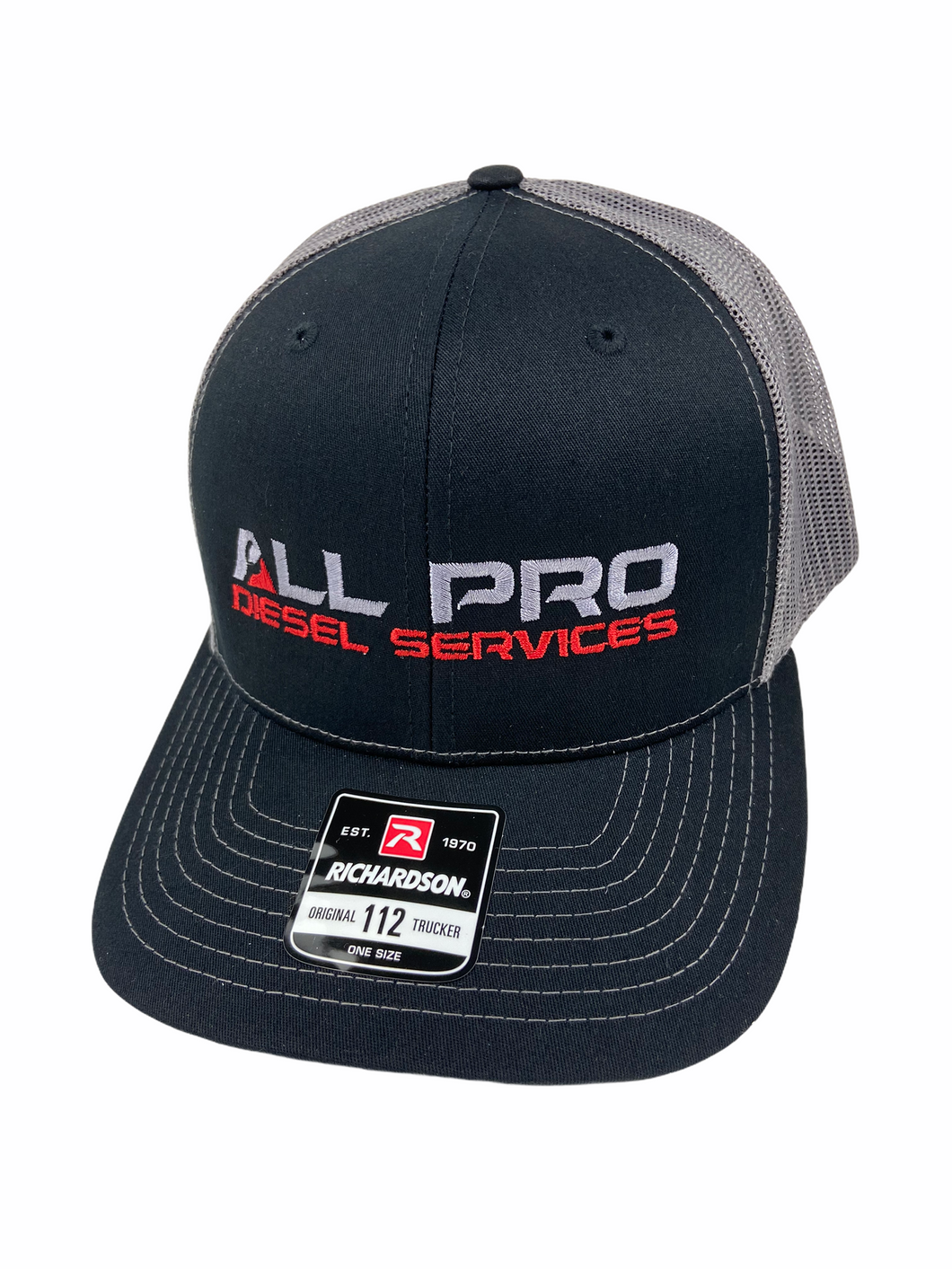 All Pro Diesel Services Black and Grey Richardson 112 Trucker Hat