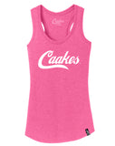 Caakes®™ Racerback Tank (White on Pink)