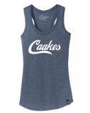 Caakes®™ Racerback Tank (White on Navy Blue)