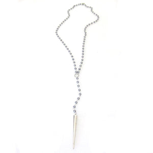 """Halle"" Metal Spike Rosary Necklace"