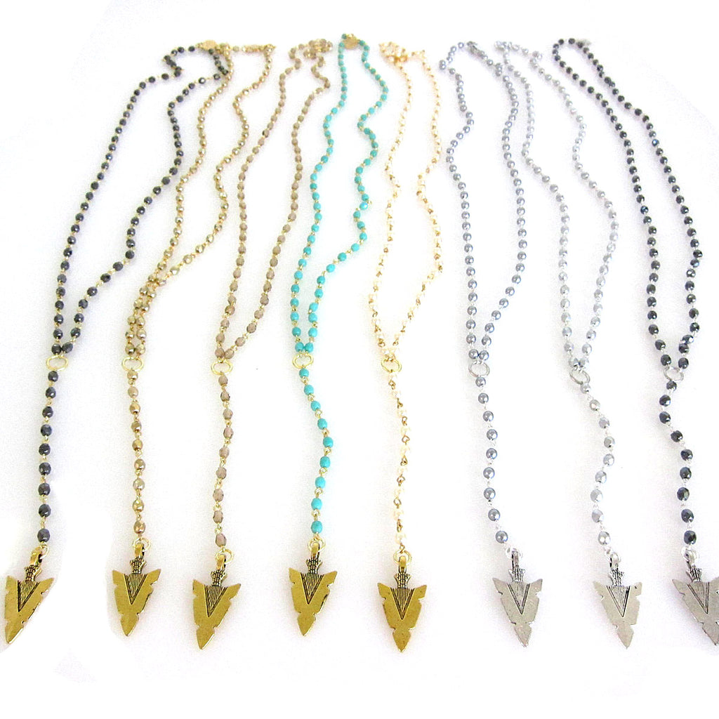 Halle Rosary Arrowhead Necklace